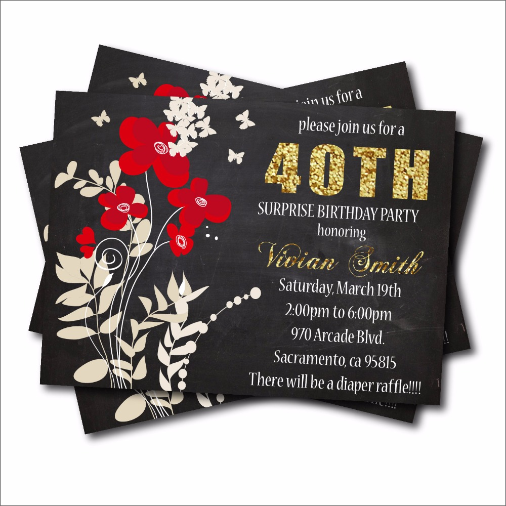 20pcs/lot Adult 40 Birthday Party Invitation Gold Glitter Adult 20 ...