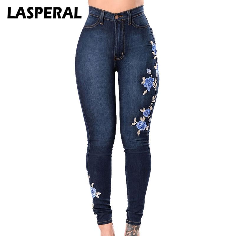 LASPERAL Flower Embroidered Jeans Pant Women Elastic Mom Jean Pencil Denim Pant Female sexy skinny Pantalon Femme bottom trouser