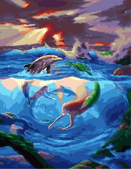 Dolphins and mermaids DIY Painting By Numbers Modern Wall Art Picture Handpainted Oil Painting Unique Gift Home Комедон