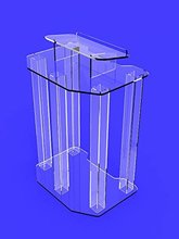 Fixture Displays Podium Clear Ghost Acrylic wrap around style Pulpit Lectern Fully Assembled ASSEMBLED