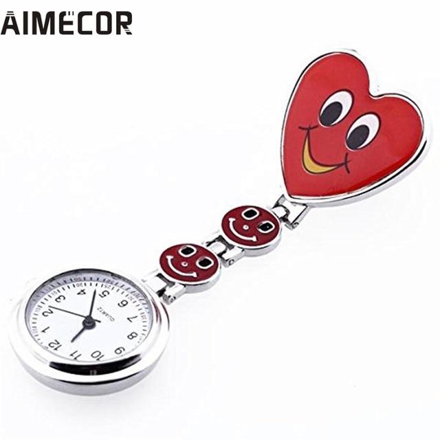Aimecor Red Heart Shape Quartz Movement Nurse Brooch Fob Tunic Pocket Watch #07
