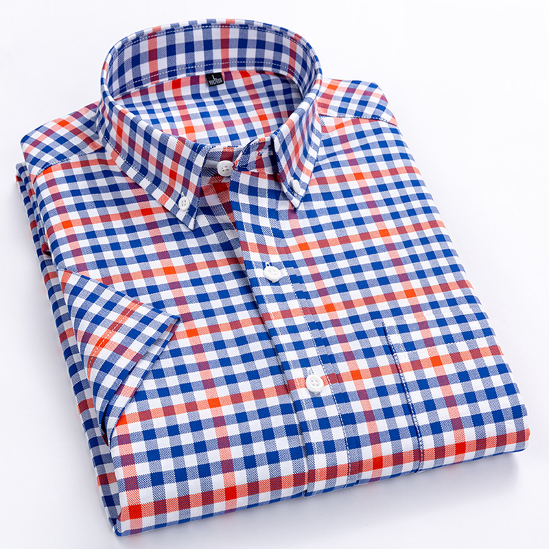 Men's Casual Short-Sleeve Checkered Shirts Standard-fit Summer Thin Soft 100% Cotton Button-down Plaid Striped Dress Shirt
