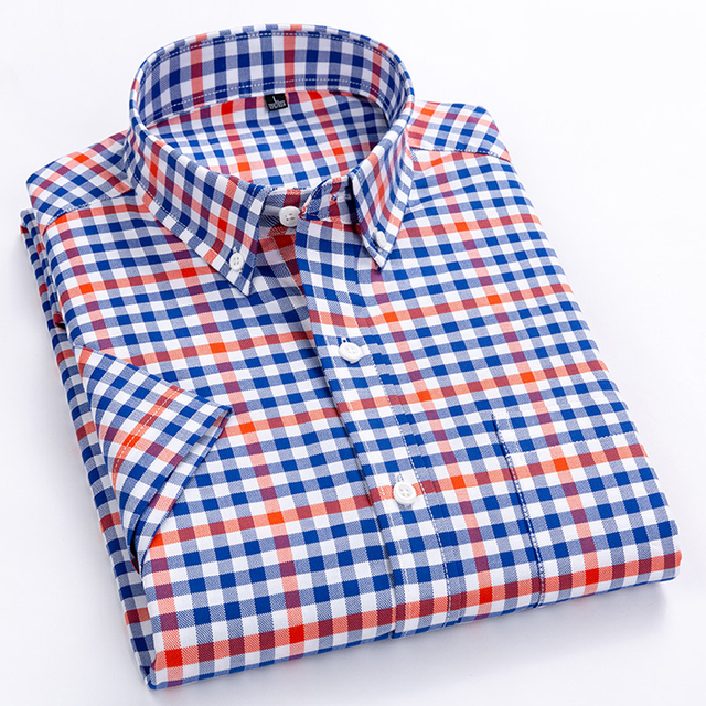 גברים מזדמנים קצר שרוול חולצות סטנדרטי fit קיץ דק רך 100% כותנה כפתור למטה משובץ פסים שמלת חולצה