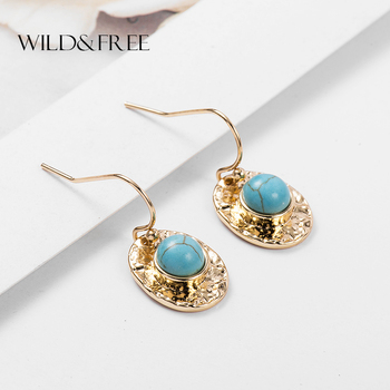 Wild & Free New Bohemian Blue Stone Dangle Earrings Pink White Turquoises Earrings Minimalist Gold Oval Earring For Women
