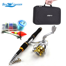 2018NEW 1.65M carbon rod Fishing Sort out Set Spinning Casting rod and Reels Hook Lures Moveable bag lure fishing Free delivery