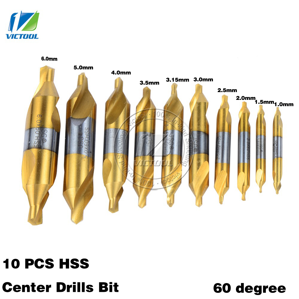 цена на 10PCS HSS Combined Center Drills Bit Set High Speed Steel Countersinks 60 Degree Angle for Dremel Processing of Stainless steel