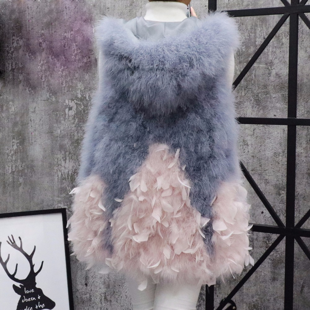 2017 Autruche laine gilet un fond d'expansion 2017 moyen-long fourrure petit frais la turquie plume survêtement