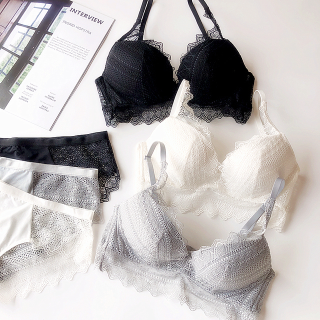 2018 겨울 새로운 프랑스어 레이스 섹시한 속눈썹 여성 속옷 두꺼운 브래지어 세트 드레스를 밀어 어린 소녀 흰색 enchantix 란제리 팬티