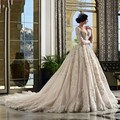 2017 Vintage Ball Gowns Wedding Dress Lace Long Sleeve Beading Vestido De Noiva Sexy V neck Backless Cathedral Train Bridal Gown