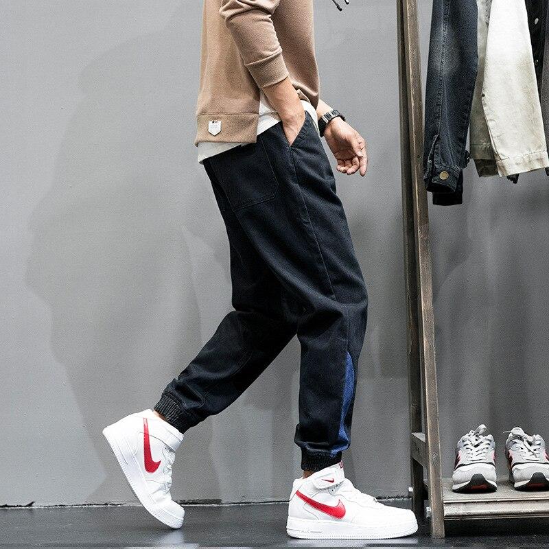 Fashion Classical Men Jeans Vintage Design Japanese Style Loose Fit Cargo Pants Men Winter Warm Jogger Jeans homme EW1831