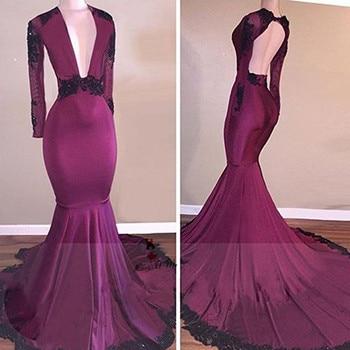 Black Lace Purple Long Sleeve Prom Dresses 2018 Beads Backless Vestidos de Formatura Mermaid Formal Evening Party Dress V Neck