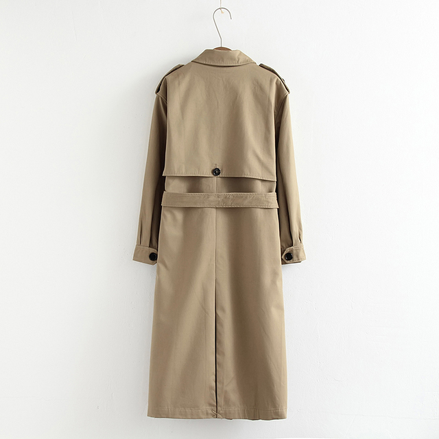 Vee Top women casual solid color double breasted outwear fashion sashes office coat chic epaulet design long trench 902229 1