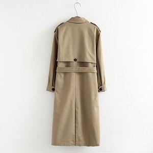 Image 2 - Vee topo feminino casual cor sólida duplo breasted outwear moda faixas casaco de escritório chique epaulet design longo trincheira 902229