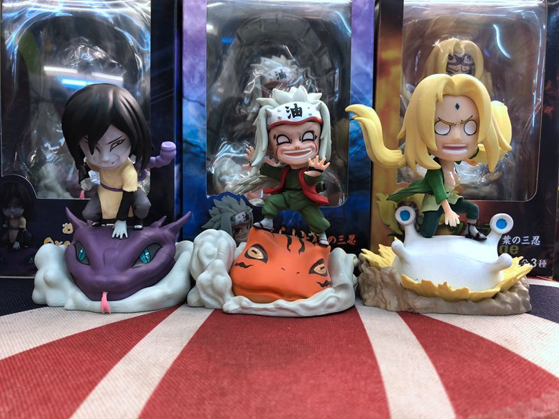 Anime Naruto Shippuden Jiraiya & Tsunade & Orochimaru with Animal Mount figure Toys