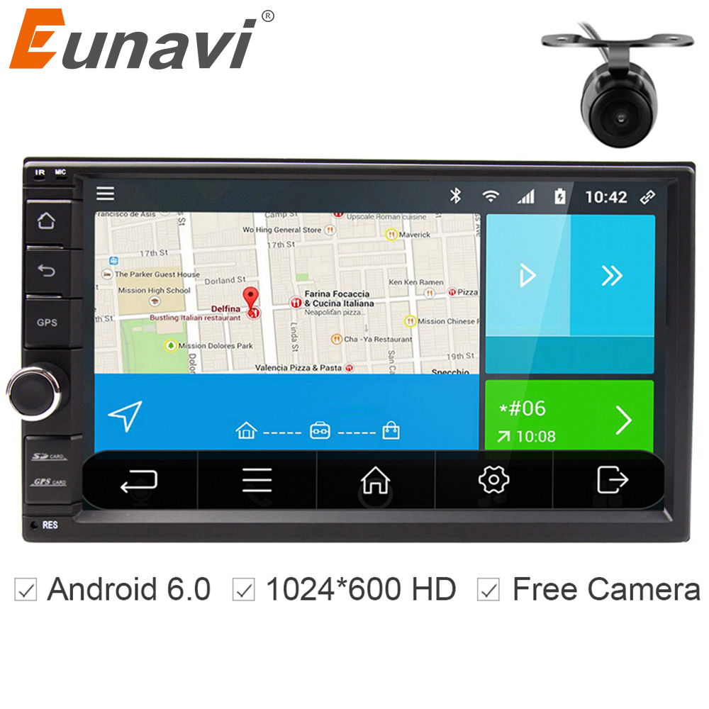Eunavi Universal Double 2 din Android 6.0 Car Radio Quad Core 7 inch 2din Car GPS Navigation for nissan with wifi stereo BT RDS smartech 2 din android 6 0 1 os car gps navigation quad core 7 inch car stereo radio head uint support video output dab obd dvr