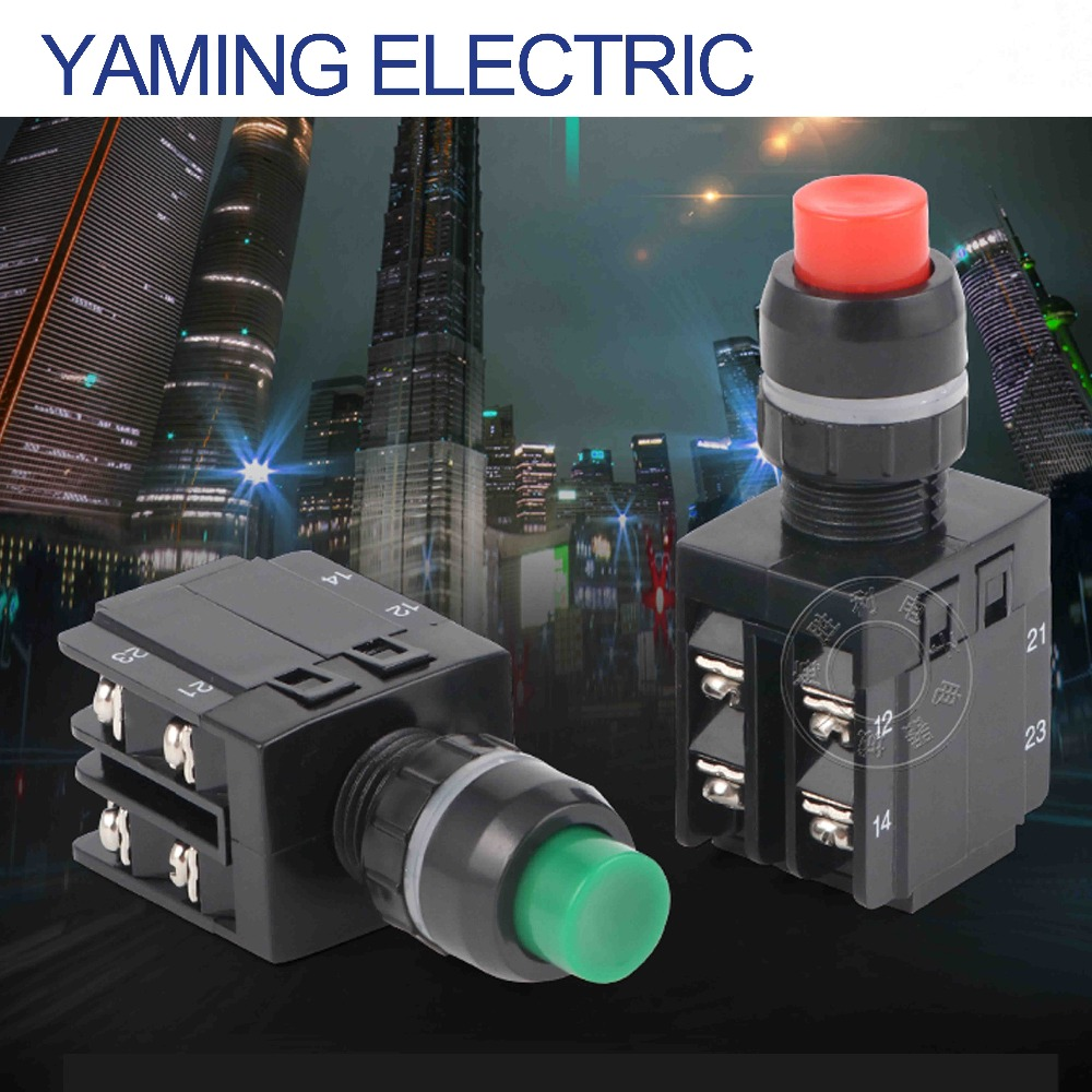 Yaming switch <font><b>P250</b></font> LA38-22/103 Power Push button Switch Red/Green 2NO 2NC 22mm 8 screws High Round Button 10A 380V image