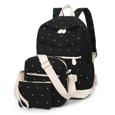 ФОТО 3Pcs/Sets Canvas Women Backpack girl student book bag with purse laptop bag backpack school for teenagers mochila feminina