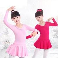 11 11 Cotton Ballet Leotards Long Sleeve Kid Children Ballet Tutu Girls Round Neck Tutu Dress