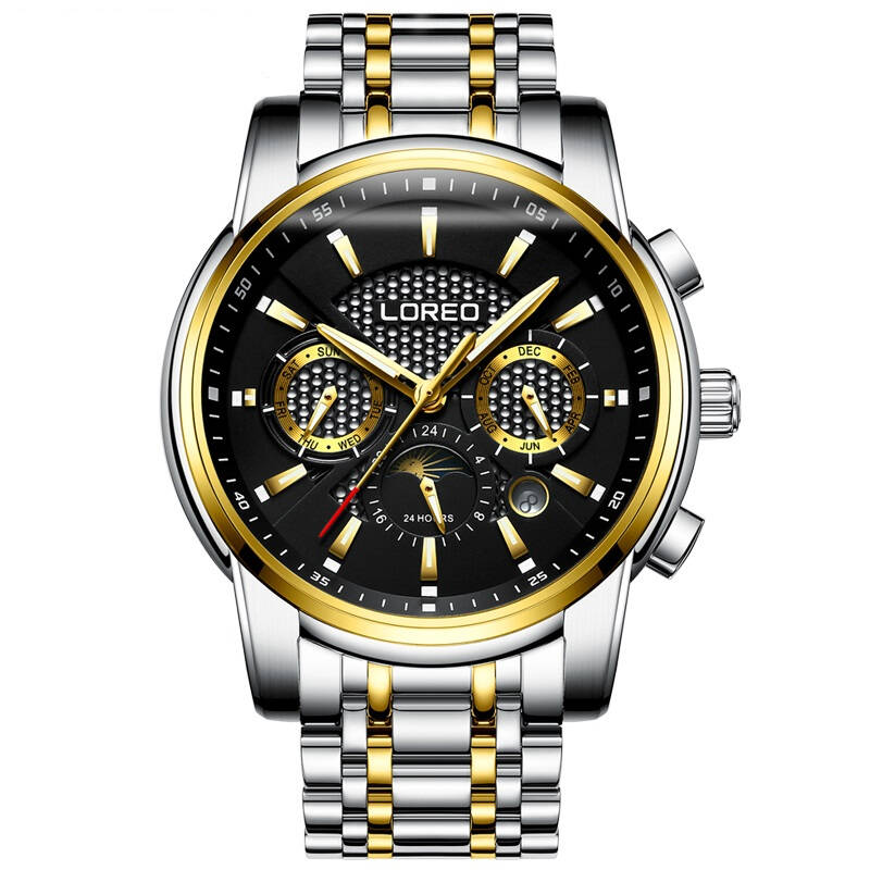 LOREO 6109 Germany Moon phase week month display automatic mechanical mens watches stainless steel luminous waterproof fashionLOREO 6109 Germany Moon phase week month display automatic mechanical mens watches stainless steel luminous waterproof fashion