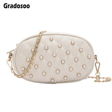 Gradosoo Pearl Waist Bag Women Thread Fanny Pack For Women Belt Bags Chain Shoulder Bags Female Banana Bags Women's Purse LBF572
