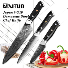 XITUO 3.5+5+8 Inch 3pcs Set Kitchen Knife Japanese VG10 Damascus Steel Chef Knives Professional Cooking Tools Utility Fruit