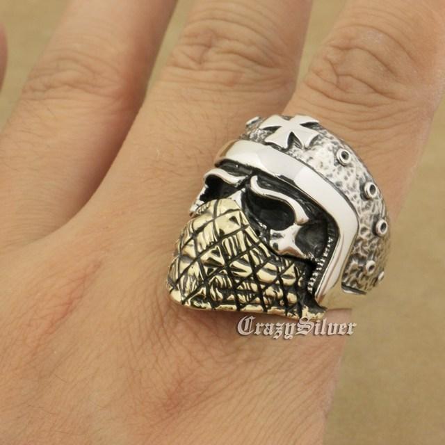 925 Sterling Silver Motorcycle Helmet Skull Brass Mask Mens Biker Ring TA23A