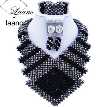 Laanc 2017 African Black and Silver Beads Jewelry Set Bridal Wedding Party Jewelry Sets Nigerian Necklace and Earrings FK005