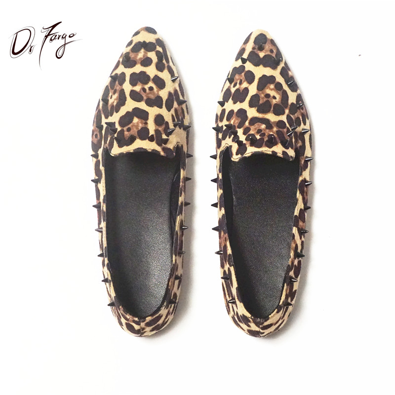 DRFARGO New Women Casual Pointed Toe Loafers Dress Flats Ballet Ballerina leopard Rivet Flat Shoes Mujer Zapatos free shipping купить