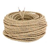 8 m Vintage Wrie Corde de Chanvre Tissé Textile Fil Câble Torsadé Tressé Fil Électrique Rétro Pendentif Lumière Lampe Ligne Vintage cordon