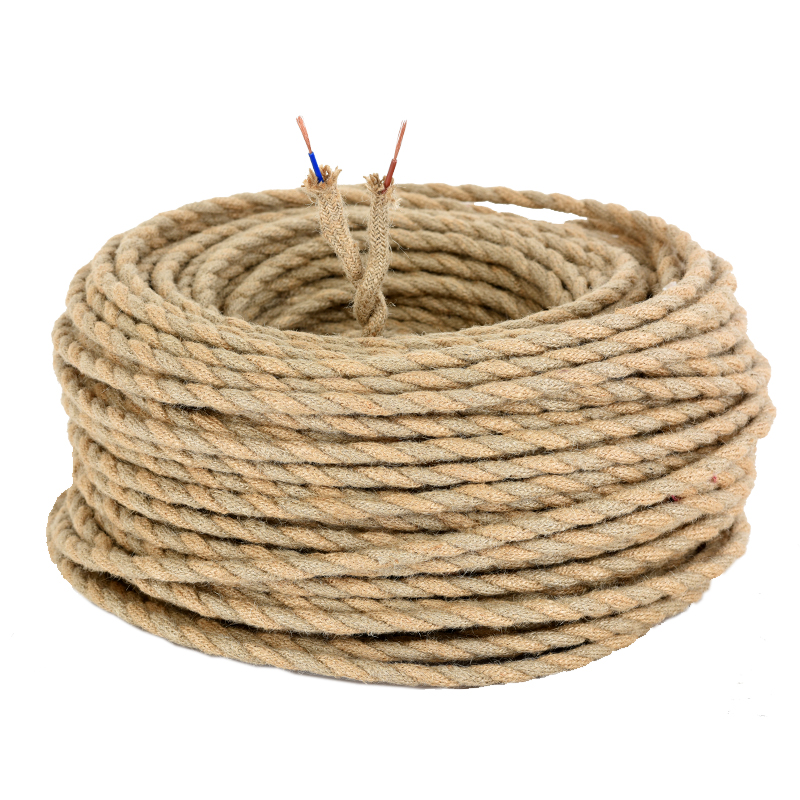 8m Vintage Wrie Hemp Rope Woven Textile Wire Twisted Cable Braided Electrical Wire Retro Pendant Light Lamp Line Vintage Cord anderson s classic woven textile navy