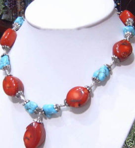 factory price new arrive Beautiful Tibet stone Red Coral Necklace fashion jewelry free shipping