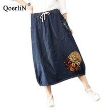 QoerliN Vintage Jean Skirts Long Women Denim Skirt Casual Harajuku Fashion Patchwork Maxi Female Big Size Jeans