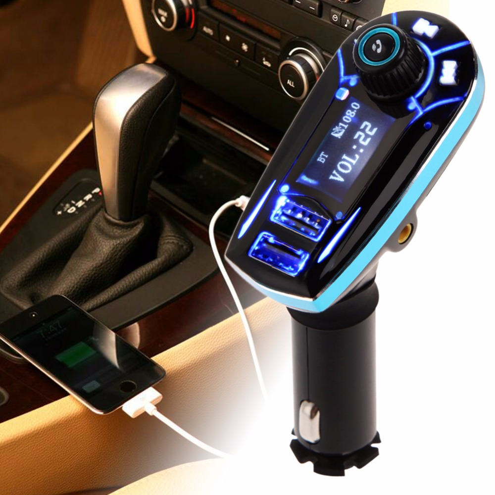 Portable FM Transmitter Bluetooth FM Modulators Car Audio MP3 Player USB Output Wireless Car Kit Charger Blue High Quality