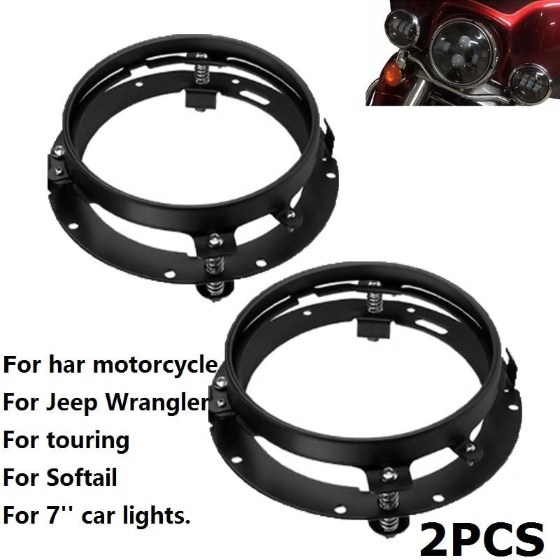2PCS Mounting Bracket For 7 Inch LED Headlight Round Ring For 7'' Headlamp Mount Lamp Holder For Jeep Wrangler JK TJ Motorcycle