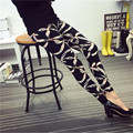 2016 New Fashion Graffiti style Printed Women's Fitness Leggings Mid Waist Slim With Elastic Cotton Leggings  For Women  Pants