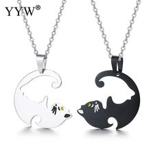 Stainless Steel Half Cute Cat Pendant Necklace Compose Circle Two Oval Chain Lover Gifts Sold By Set