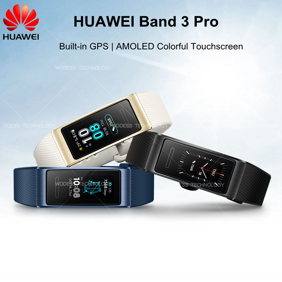 Original Huawei Band 3 pro Colorful Screen Smart Band with GPS for Swimming