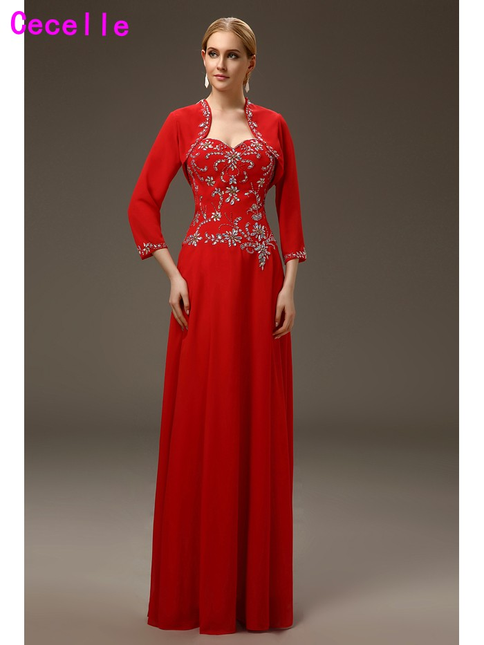 2017Sparkle Long A-line Red Floor Length Beading Chiffon Mother Of The Bride Dresses With Jackets Elegant Mothers Evening Wear