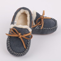 Children Shoes New Fashion High Quality Shoes Leather Warm Flat Cotton Shoe Bow Tie Spring Autumn