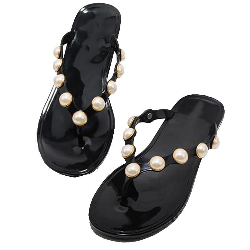 Women Summer Flip Flops Ladies Beach Slippers Outside Beach Flip-flops Women Pearl Fashion Slippers Free shipping flip