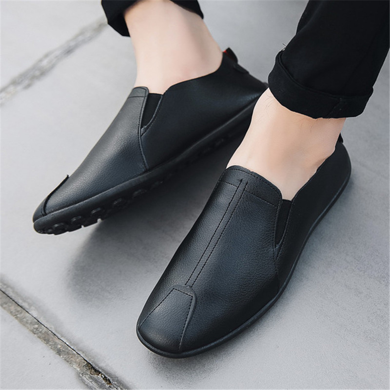 2019 Loafers Man Shoes Men Loafers PU Leather Loafers Breathable Casual Mens Shoes Drving Shoe Men Men Hook&loop Driving Boats
