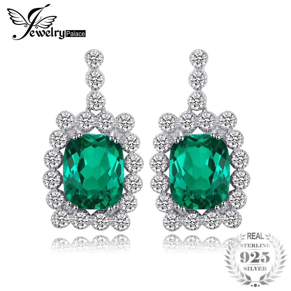 JewelryPalace Luxury 6.87ct Created Nano Russian Emerald Drop Earrings 100% Real 925 Sterling Silver Women Fine Wedding Jewelry