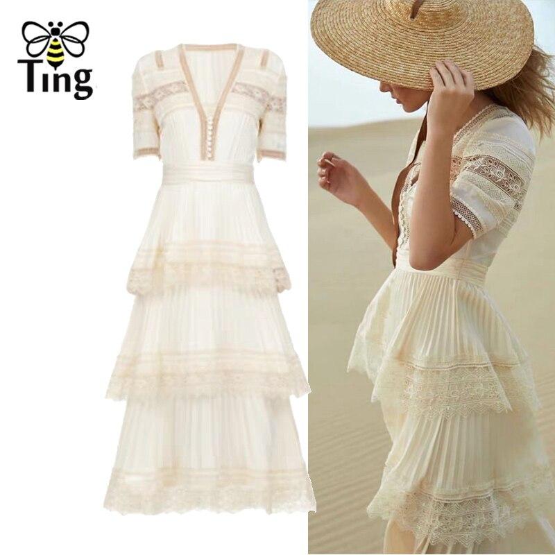 Tingfly été nouvelle mode SP Midi longue robe Vintage col en V à plusieurs niveaux dentelle Patchowrk robe élégante robe de soirée dame Vestidos SP