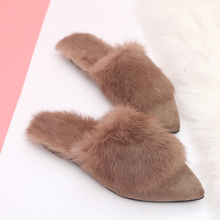 2018 Fashion Women Slippers Winter Faux Fur Slides Ladies Cute Warm Plush Mules Slip On Casual Flat Shoes Woman Furry Flip Flops