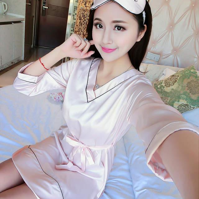 3213fd259b placeholder Homewear Black Pink Blue Long Sleeve Sleeping Dress Night Gown  Bathrobe Silk Satin Nightgown Women Sleepwear