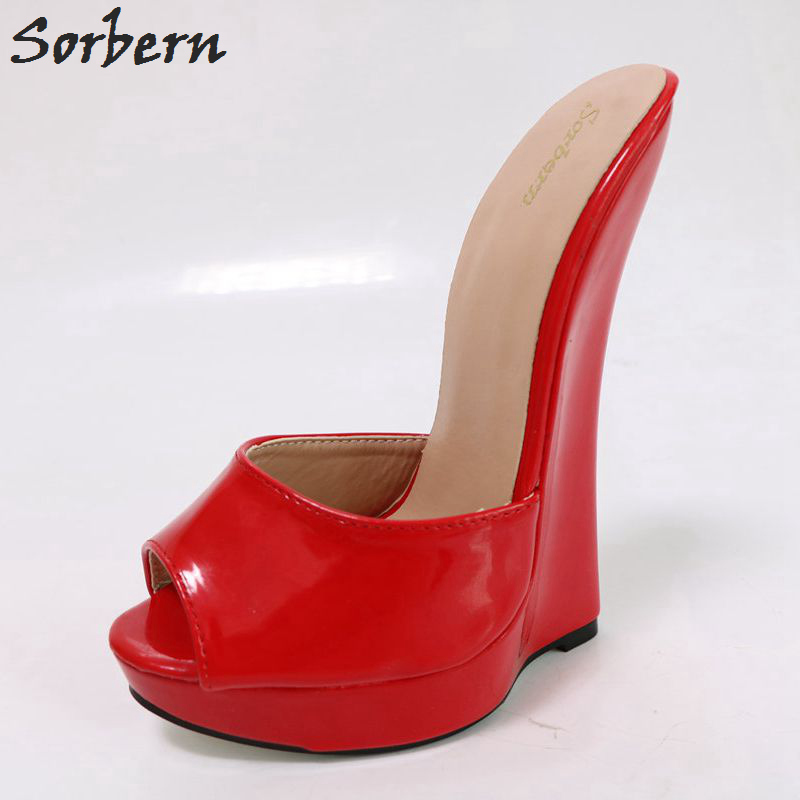 Sorbern Shiny Wedge Heels Women Sandals Ultra 18CM High Heel Slippers Ladies Platform Open Toe Summer Slides Outdoor Shoes кеды dali кеды на танкетке платформе