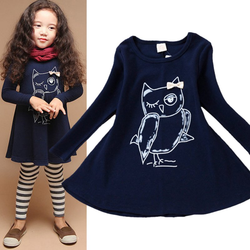 New-Spring-Dress-Fashion-Girl-Long-Sleeves-Cotton-Baby-Casual-Dress-Girls-Cartoon-Owl-Baby-Clothes-1