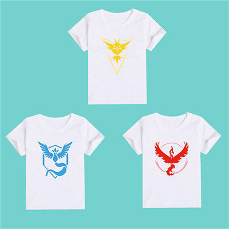Cotton Free shipping Pokemon Go White Team Instinct Valor Mystic Short Sleeve Baby Kids Boy Girl T-Shirt Tops Tee Blouse 2-7Y