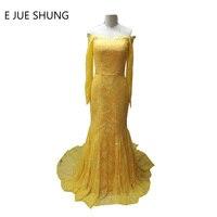 E JUE SHUNG Màu Vàng Cổ Điển Ren Đính Cườm Mermaid Dài Evening Dresses Dài Tay Áo Chính Thức Dresses Evening Gowns robe de soiree