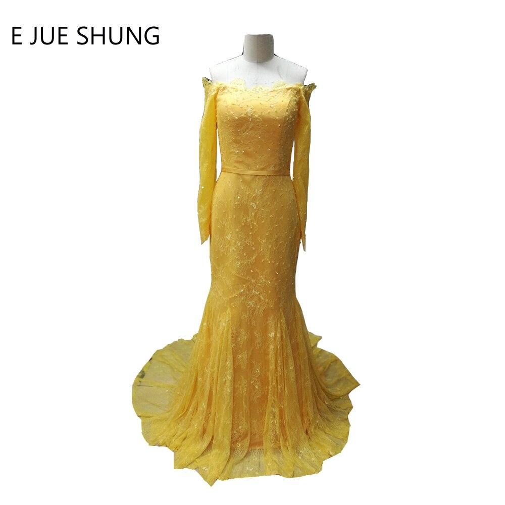 E JUE SHUNG Kollane Vintage pits helmestus merineitsi pikk õhtukleidid pikkade varrukatega Ametlik kleidid Õhtukleidid robe de soiree
